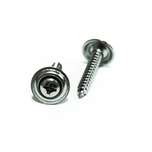 "Phillips Oval Head Sems Tapping Screws w/ Countersunk Washer #8 x 1"" Chrome"