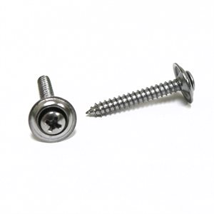 "Phillips Oval Head Sems Tapping Screws w/ Countersunk Washer #8 x 1 1/4"" Chrome"